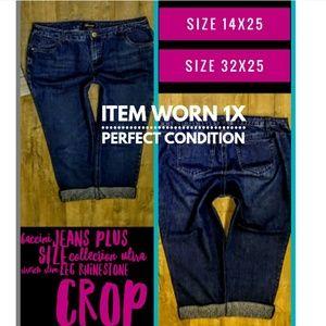 Baccini Jeans Plus Size 14WX25 Rhinestone Cuff EUC